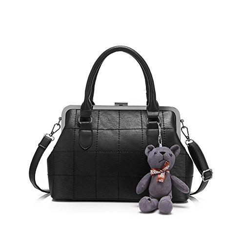 Designer borse e borsette pišŽ reale per Teen Girls con una pelle di orso fascino Media Quilted Tote Bag Black