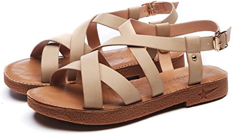 Slipper Roman White Sandals Female Flat Summer Soft Color Sandal Strape On Cream Cross Strap Student Korean Ladies Shoes B07drgj264 Parent 5a20703 Stechguru365