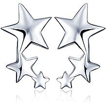 Yumilok - Pendientes de plata de ley 925, con circonitas, diseño de estrellas, para mujer