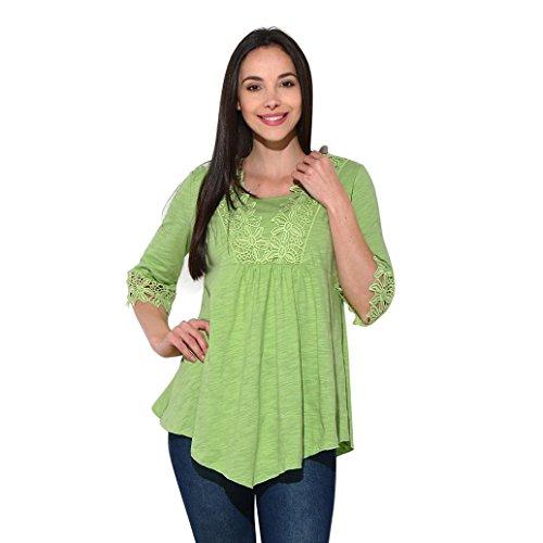 Blase Saum Bluse (ubabamama Frauen Splice Basic Solid Spitze Nähte Half Sleeve T-Shirt Spitze Hohl Out Tunika Top unregelmäßiger Saum Bluse mehrfarbig grün XX-Large)