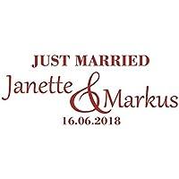 Autoaufkleber Just Married mit Vornamen & Datum