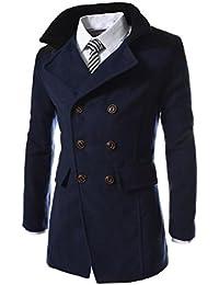 756773a34256d FNKDOR Manteau Homme Laine Hiver Chaud Trench-Coat Caban élégant Blouson  Parka Veste Slim Fit