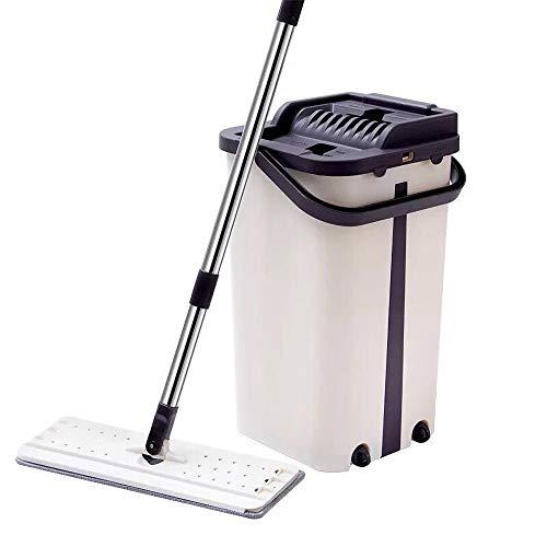 SKINGO Mopp Startseite faul Mopp Freihandwäsche Flachmopp Squeeze Mop und Eimer mit 3PCS Mikrofaser-Pads Schmutzwasser von sauberem Wasser trennen Self Wash -