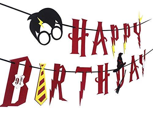 La casa mágica de bruja Suministros de fiesta de Harry Potter - Banner de feliz cumpleaños Decoración de fiesta de guirnalda, rojo