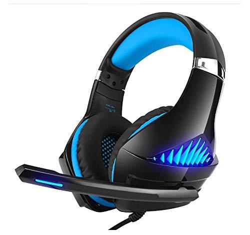 qwe Gaming-Kopfhörer, Lärmschutz-Computer-Kopfhörer mit Mikrofon, Mikrofon-Verbot mit einem Knopf, Verbot mit einem Knopf und Lautstärkeregelung