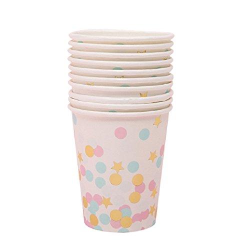 on Punkte Sterne Papier Einweg einmaliges Teller Tasse Party Geschirr, Papier, A-cup, Einheitsgröße (Bulk-tassen Mit Strohhalme)