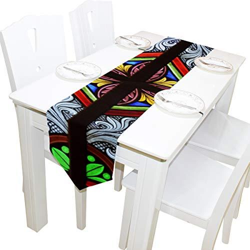 Romantische Splice Muster Glas Floral Kommode Schal Tuch Abdeckung Tischläufer Tischdecke Tischset Küche Esszimmer Wohnzimmer Home Hochzeit Bankett Dekor Indoor 13 x 90 Zoll
