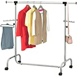 Tatkraft 13339, Tatkraft Falcon Adjustable Heavy Duty Clothes Rail Steel Long Hanging Rail with Wheels, Extendable Length 3.5-5.7 Ft and Height 4.5-6.1 Ft, Chromed Steel (Home & Garden)