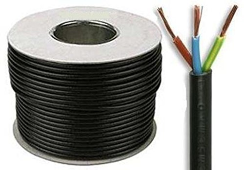 13 AMP BLACK Electrical Mains Wire Cable 3 Core Flexible 1.5mm Sold By The Metre