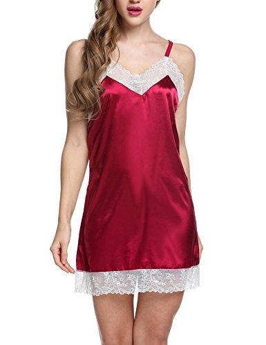 *Damen Satin Nachthemd Babydoll Negligee Rückenfrei Nachtkleid Nachtwäsche kleid Lingerie Sleepwear Spitze bh*