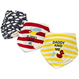 CuteOn Momscare Baby Drool Bibs, Unisex 3-Pack Absorbent Cotton, Triangle Bib with Snaps Gift for Boys & Girls - Asorted