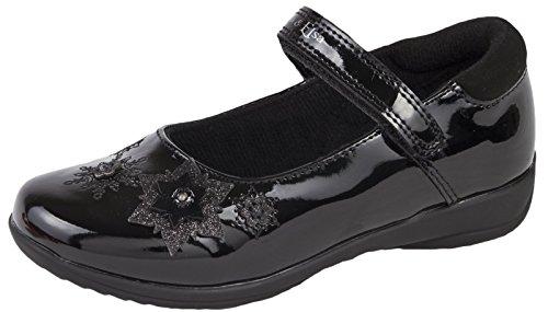 Disney Frozen Black School Shoes Flashing Light Up Faux Leather Mary Jane...