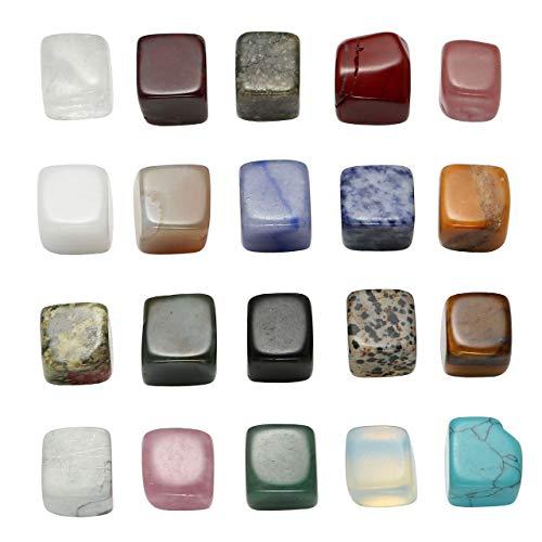 JOVIVI Naturstein Set Heilstein Chakra-Set 20x verschieden Edelsteine Trommelsteine Set Formlos Natural Gemstones (Modell 2)