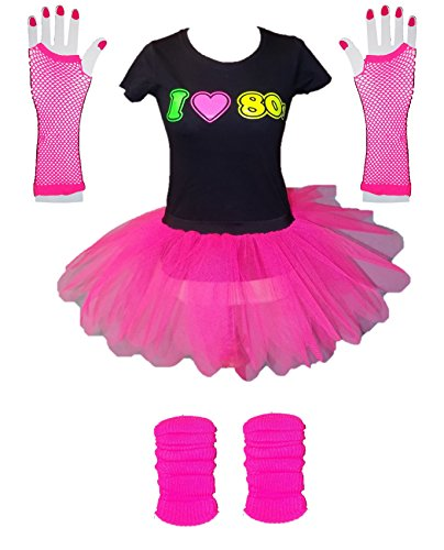 * NEW * I Love 80s Ladies Fancy Dress Set. Up to 3XL