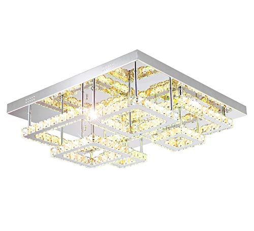 XL Led Deckenlampe Deckenleuchte Glas Kristall dimmbar regelbare Farbtemperatur Lampe inkl. Fernbedienung 60cm 128W Luxus Lewima Redig