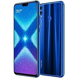 """HONOR 8X - Smartphone 6,5"""" FHD+, 20MP+2MP y Frontal 16MP, 4GB + 64GB Memoria, Batería 3750 mAh, GPU Turbo, Azul, Versión Española"""