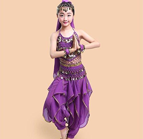 Kinder indischer Tanz Kostüm Bauchtanz Kostüm Kostüme Racoon/gelb/blau/rot/lila, 150cm, Purple