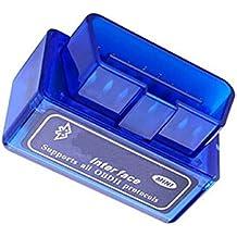 Yizhet Bluetooth OBD2 escáner, Mini OBD2 V2.1 ,Mini Interfaz V2.1 Bluetooth OBD-II OBD2 coche herramienta de análisis de diagnóstico (azul mini)