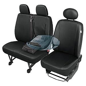 ZentimeX Z742633 Sitzbezüge SET Fahrersitz / Einzelsitz Armlehne rechts + Doppelbank / Zweierbank Kunstleder schwarz