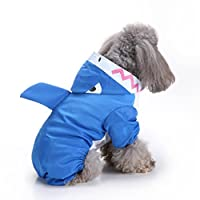 UPXIANG Fashion Pet Rainy Days Slicker Blue Raincoat, Waterproof Pet Dog Raincoat Jacket Hooded Poncho with Hook for Small Dogs Puppy Cats [Blue Cute Shark]