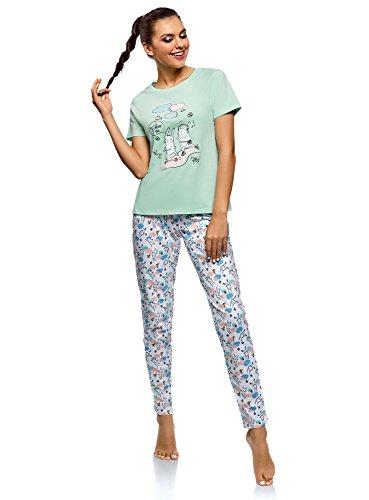 oodji Ultra Mujer Pijama de Algodón con Pantalones, Verde, ES 40 / M