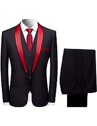 882f7b366 Sliktaa Mens Suits 3 Pieces Slim Fit Wedding Formal Dinner Suit Black Navy  Wine Red One