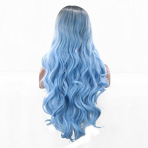 LUFA Gradient Lange Curly Wavy Laides Synthetische Perücke Mix Schwarz Blau Voll Kopf Cosplay Perücken (Lockige Blaue Perücke)