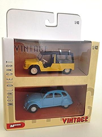 CITROEN MEHARI JAUNE + CITROEN 2CV BLEUE : coffret de 2 voitures échelle 1:43