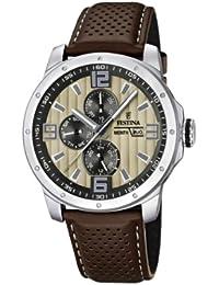Festina Sport Multifunktion F16585/6 - Reloj analógico de cuarzo para hombre, correa de cuero color marrón (agujas luminiscentes)
