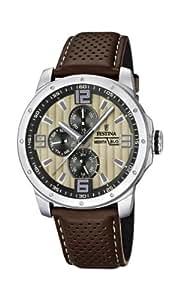 Festina Herren-Armbanduhr XL Sport Multifunktion Analog Quarz Leder F16585/6
