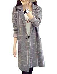 Mujer Abrigo Moda Cómodo Outwear Invierno Doble Botonadura Manga Larga A Cuadros Especial Estilo Bolsillos Delanteros