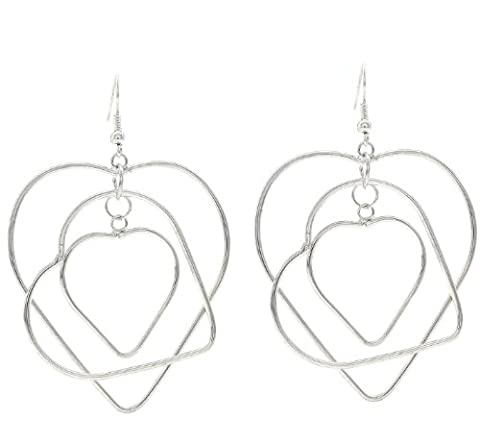 Triple Heart Drop Dangling Earrings
