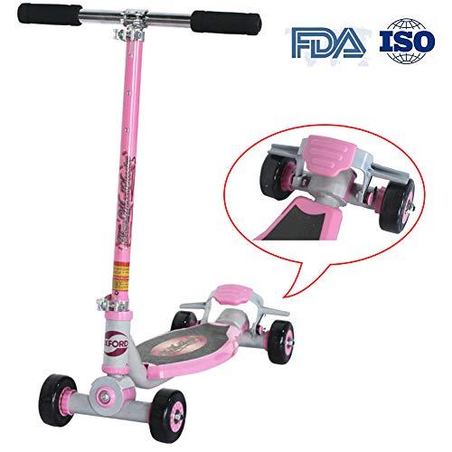RISILAYS Athletisch Vierrad-Drift-Roller Scooter Dreirad mit verstellbarem Lenker Kinderroller, der sichere Premium faltbar belastbar Geeignet für Erwachsenes Jugend Kind