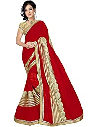 Online HUB Women's Georgette Embroidered Saree With Blouse Piece - ONLINEHUBREDNETBOXPATERNHAVYWORK1_Red_Free...