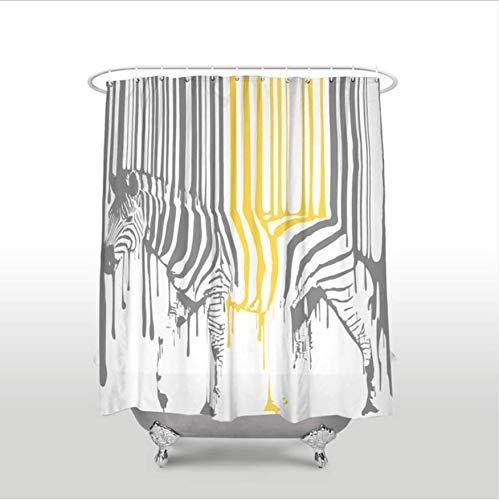 HHYSPA Wasserdicht niedlichen Tier Zebra Muster Duschvorhang Polyester Stoff grau gelb Bad Vorhänge für Wohnkultur mit Haken 59X71 Inch (Zebra Duschvorhang Grau)