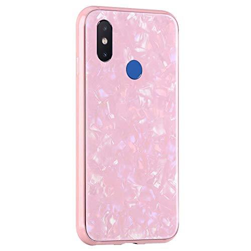 Caler ® Funda Compatible para Xiaomi Mi 9 SE Carcasa Vidrio Templado Mármol Conchas Hermoso PC Case de Protectora Anti-Golpes Anti-Arañazos Cover Caso (Oro Rosa)