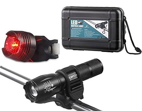 Fahrradlicht, Icefox StVZO Zertifiziert LED Fahrradbeleuchtung Set inkl. Frontlichter und Rücklicht mit Knopfzelle, mit Zoom, 3 Licht-Modi für Mountain Biking, Camping und den täglichen Gebrauch