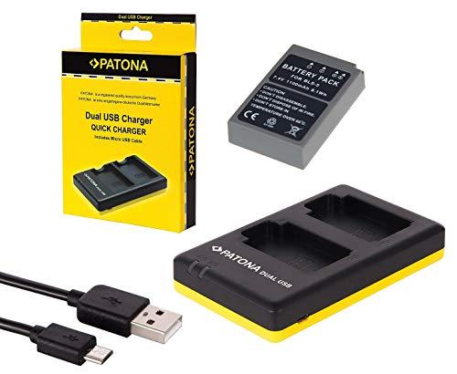 2in1-SET für die Olympus OM-D E-M10 Mark II --- PREMIUM Akku für Olympus BLS-5 / BLS-50 (starke 1100mAh) + Dual Ladegerät (laden Sie 2 Akkus via USB-Anschluss auf einmal) Dual 50