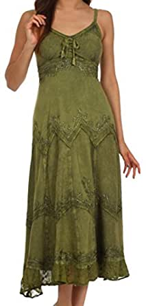 4012 - Stonewashed Rayon Embroidered Adjustable Spaghetti Straps Long Dress - Army Green - 1X/2X