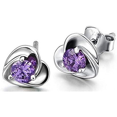 SaySure - 925 Sterling Silver Heart Earrings Purple Cubic Zircon CZ Crystal