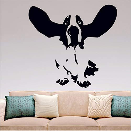 Ysain Basset Hound Wall Decal Aufkleber Decor Hunde Ohren Hob Küche Schlafzimmer Wohnzimmer Wand Kunst Wandtattoo 56 * 59Cm (Fake Ohren Die Hund)