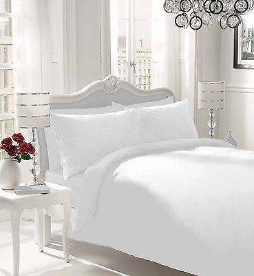 NON IRON Luxury Parcale Plain Dyed Duvet Cover & 2 Pillow Cases Bed Set (White, Double)