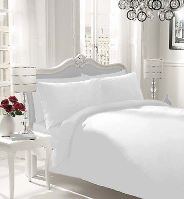 NON IRON Luxury Parcale Plain Dyed Duvet Cover & 2 Pillow Cases Bed Set (White, Double)