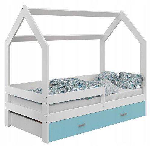 Bett Babybett Kinderbett in Hausform Holzbett Jugendbett mit Lattenrost mit Schublade mit Matratze verschiedene Farben zur Auswahl zur Selbstmontage 80x160 D3 (Weiß/Weiß/Blau)