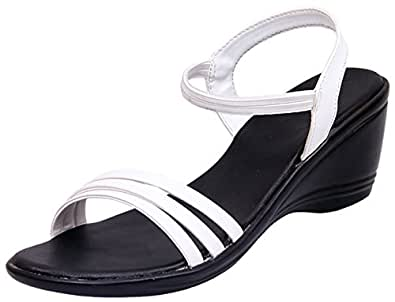 Right Steps Women White Synthetic Leather Sandals (36-EU)