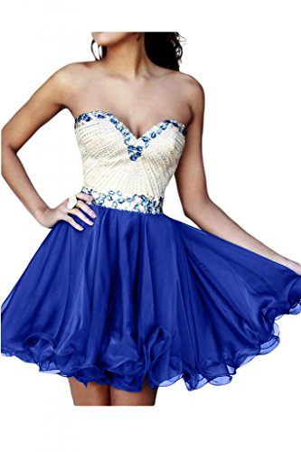 Toscane mariée sweetheart, coeur abendkleider courte forme partykleider à cocktail en chiffon Bleu - Bleu roi