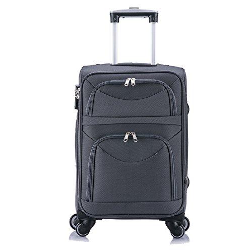 WOLTU RK4214gr-M-a Reise Koffer Trolley mit 4 Rollen , Weichgepäck Reisegepäck , Reisekoffer Stoff 1200D Oxford Weichschale , Handgepäck leicht & günstig , Grau (M, 56 cm & 42 Liter)