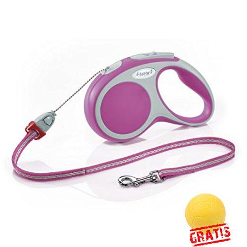 FLEXI VARIO +BALL Gratis Seilleine Seil Hundeleine Automatikleine Leine Hunde Rollleine (M(8m,max.20kg), Rosa)