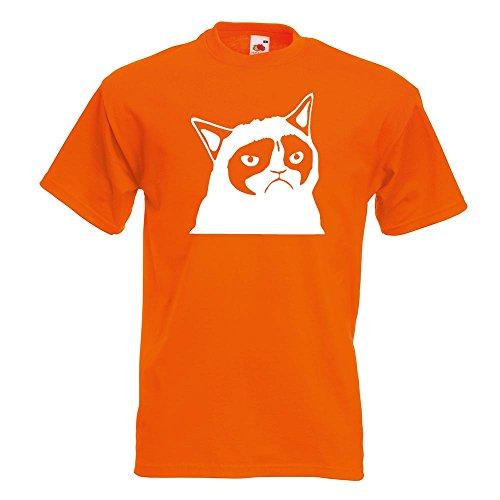 KIWISTAR - Grumpy Cat - Meme - No T-Shirt in 15 verschiedenen Farben - Herren Funshirt bedruckt Design Sprüche Spruch Motive Oberteil Baumwolle Print Größe S M L XL XXL Orange