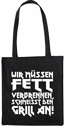 Mister Merchandise Tasche Wir müssen Ferr verbrennen. Schmeisst den Grill an Stofftasche , Farbe: Schwarz Schwarz